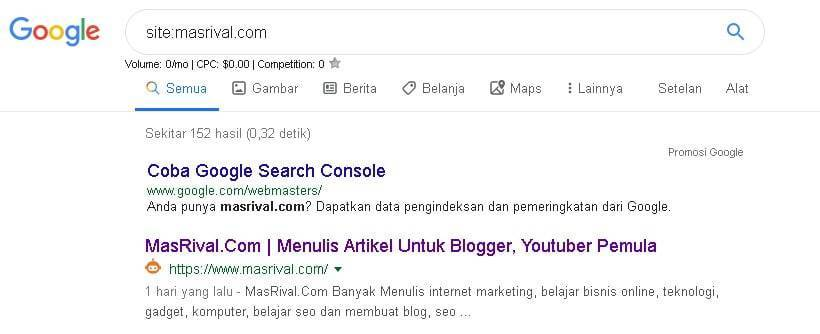 Tutorial memerika artikel sudah terindex google