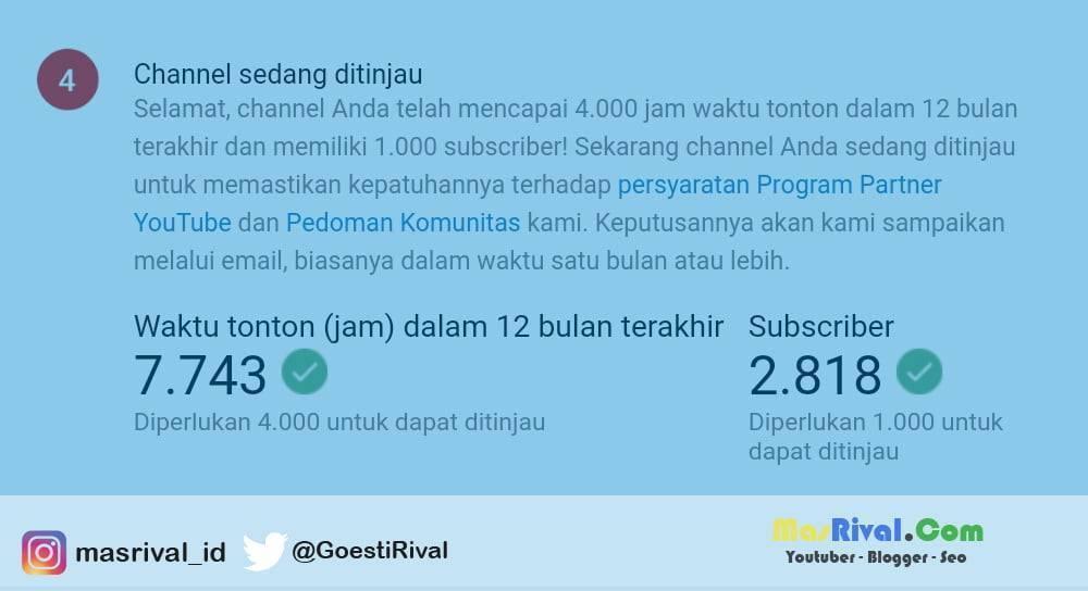 Channel Saya Sudah Lebih 1000 Subscriber dan 4000 Jam